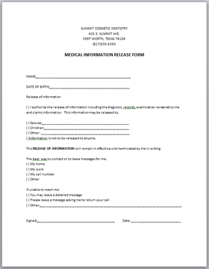 MEDICAL INFORMATION RELEASE FORM